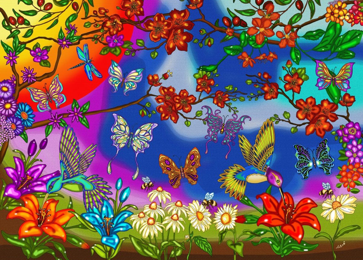 Butterflies and Hummingbirds Birds Jigsaw Puzzle