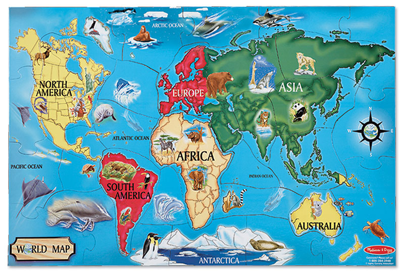 World Map Animals Jigsaw Puzzle