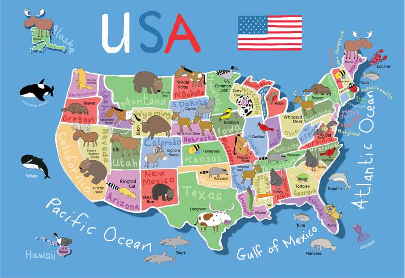 USA Map Childrens Puzzles PuzzleWarehousecom - Usa maos