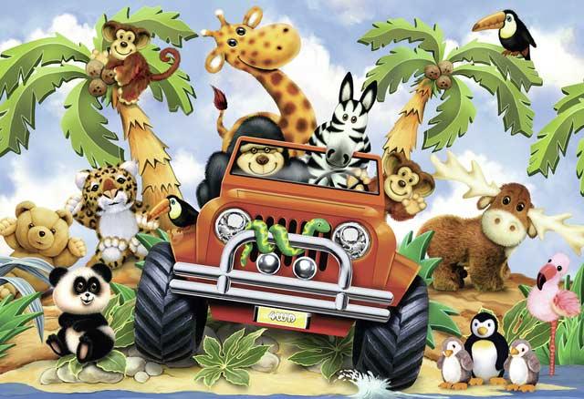 4-Wheeling Jungle Animals Jigsaw Puzzle