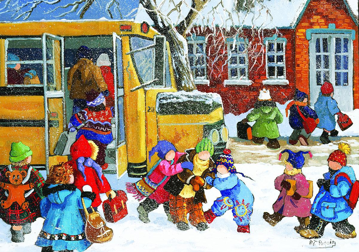 Paquin: Ready for School / En route vers l'école Winter Jigsaw Puzzle
