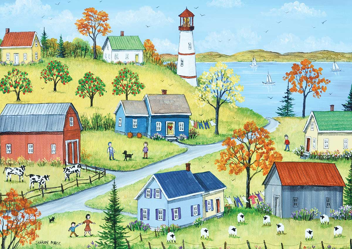 Autumn by the Lake Lighthouses Jigsaw Puzzle