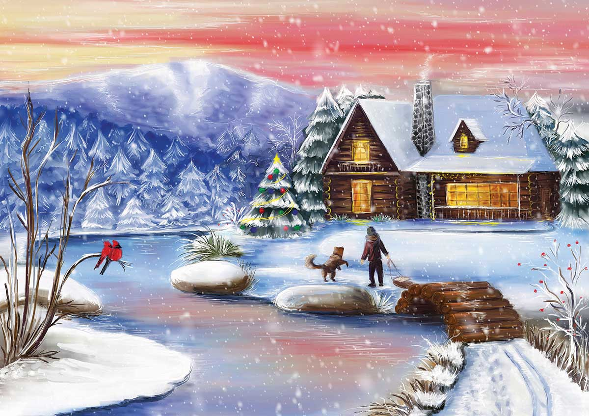 Christmas Night At The Chalet Christmas Jigsaw Puzzle