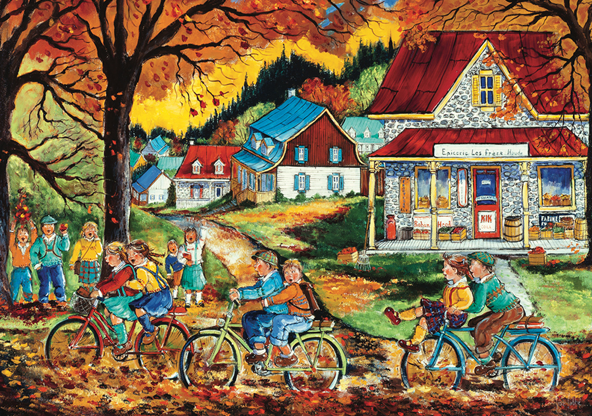 A Race With Friends Street Scene Jigsaw Puzzle