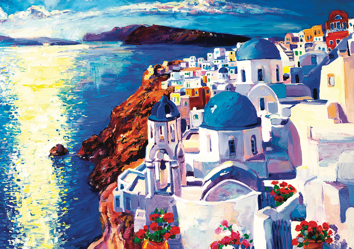 Blue & White Country Greece Jigsaw Puzzle