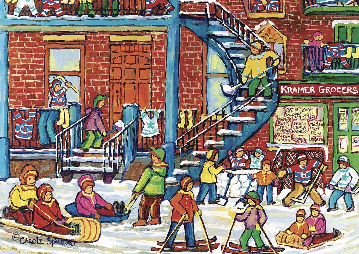 Winter Fun Street Scene Jigsaw Puzzle