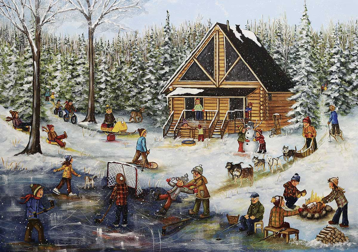 Winter at the Log Cabin Winter Jigsaw Puzzle