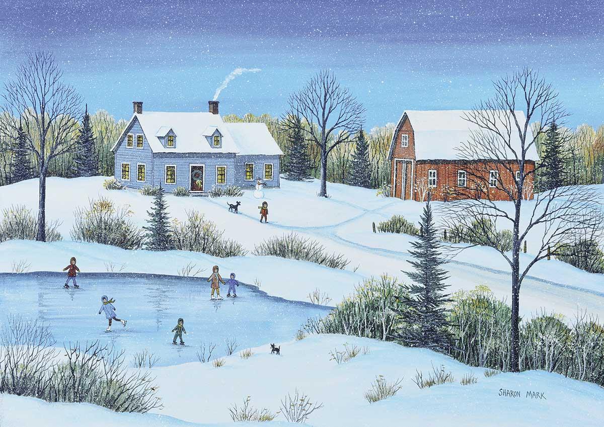Snowfall At Dusk Winter Jigsaw Puzzle