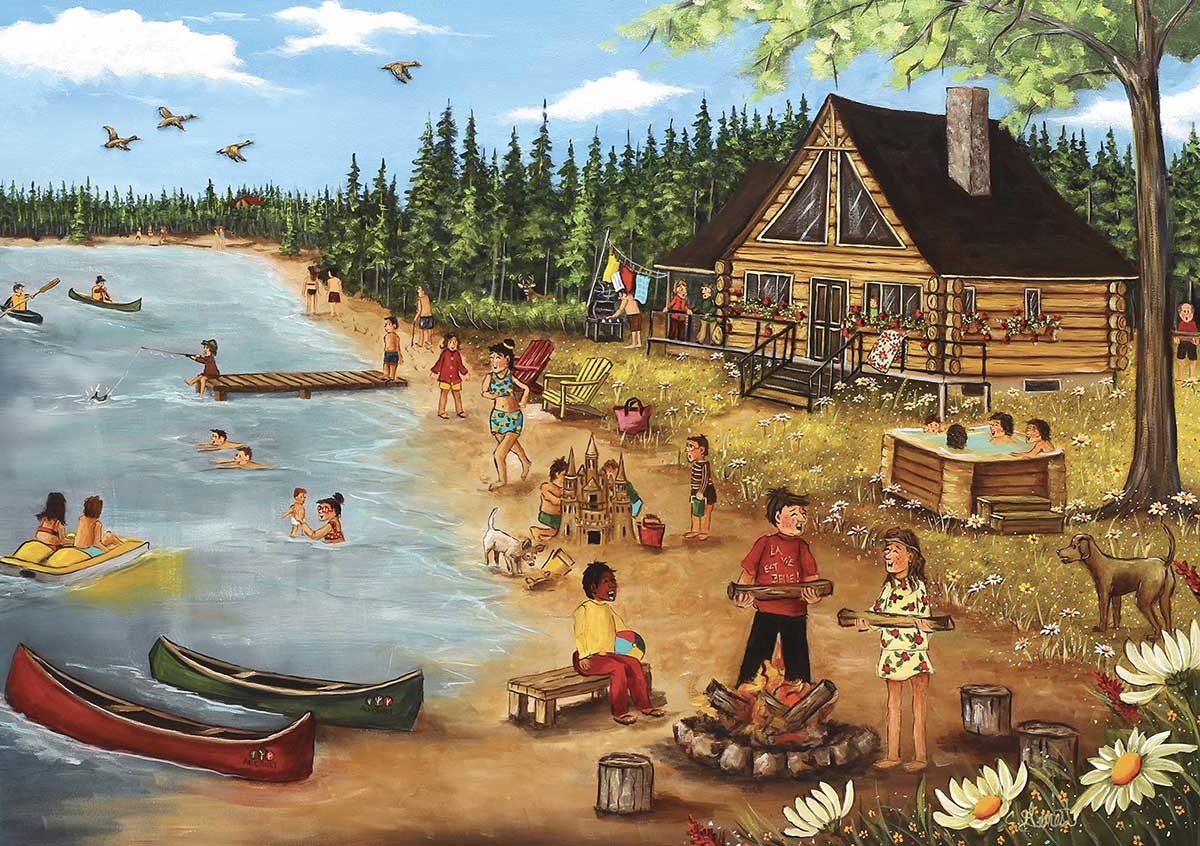 Summer At The Lodge Cabin Summer Jigsaw Puzzle