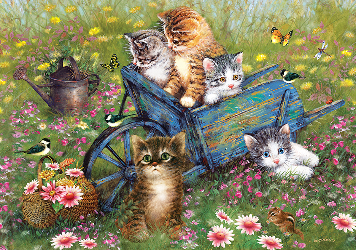 Cats In The Garden Cats Jigsaw Puzzle