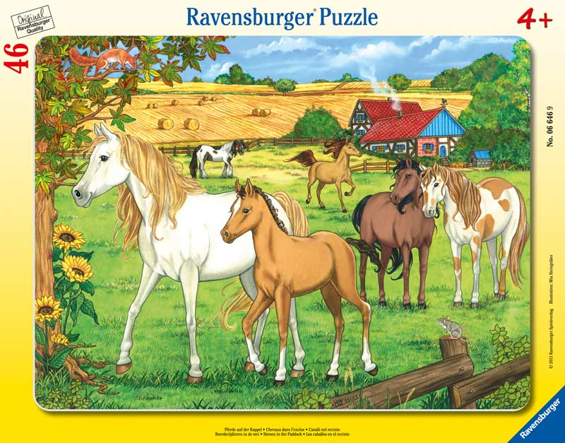Horses in the Paddock - Frame Puzzle Horses Jigsaw Puzzle