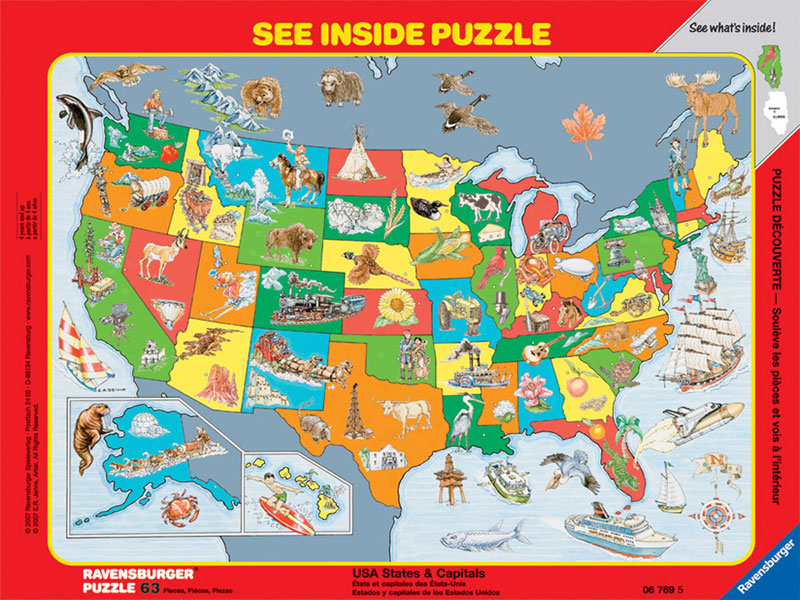 United States & Capitals Maps Hidden Images