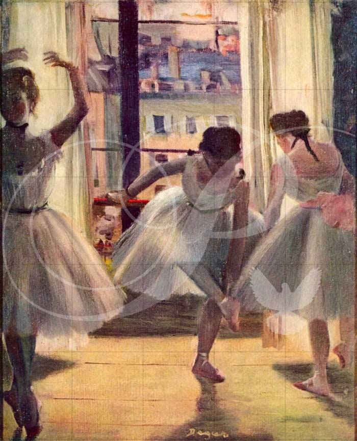 Three Dancers in a Practice Room Impressionism Wooden Jigsaw Puzzle