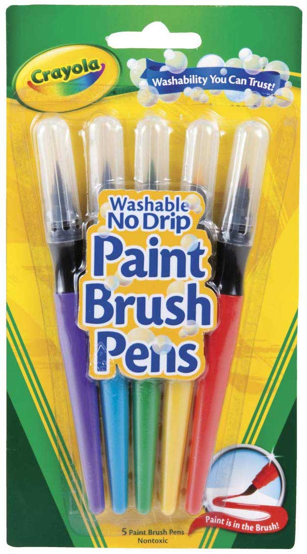 Craylola No Drip Washable Paint Brush Pens 5 Colors