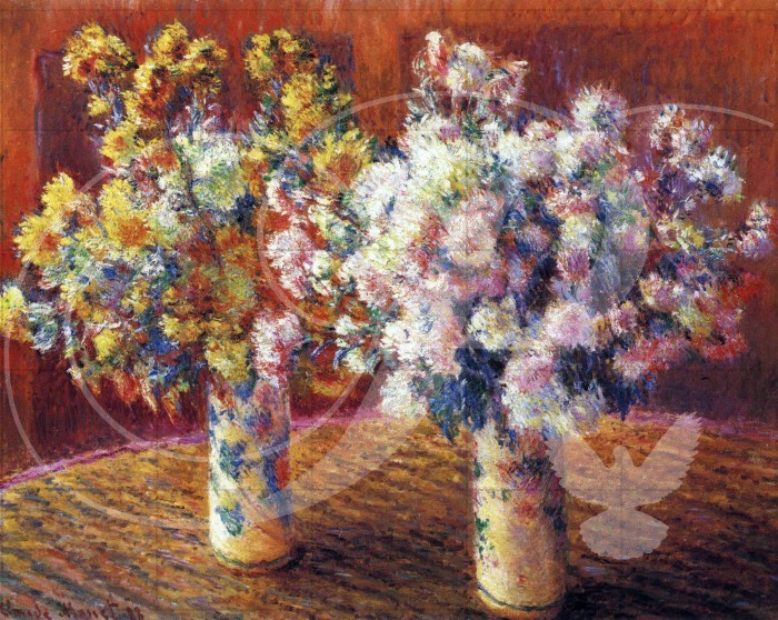 Two Vases with Chrysanthemums Impressionism Wooden Jigsaw Puzzle