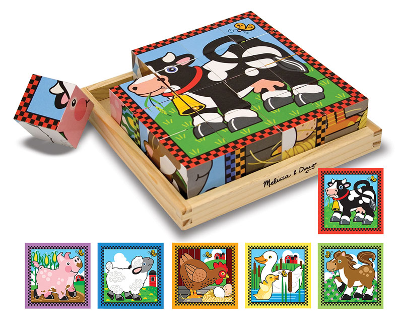 Farm Cube Puzzle Farm Animals Wooden Jigsaw Puzzle
