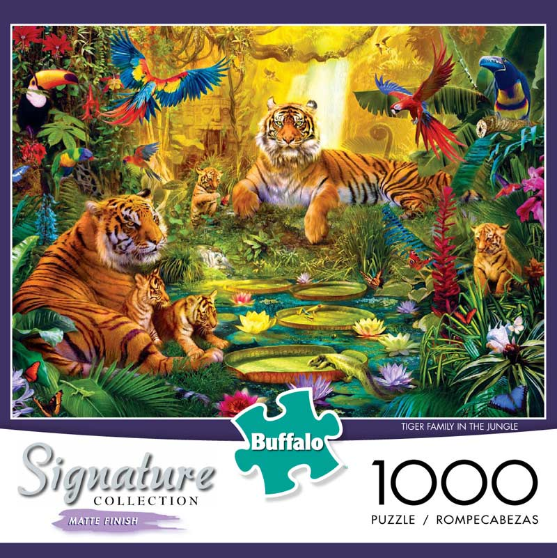 Tiger Family in the Jungle Birds Jigsaw Puzzle