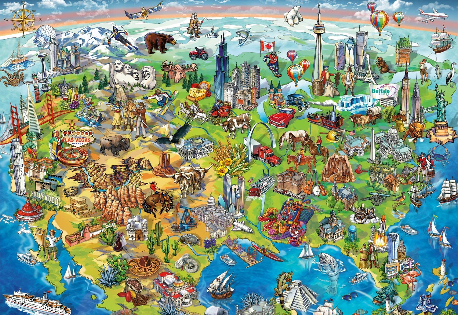 North America Wonders Maps / Geography Jigsaw Puzzle