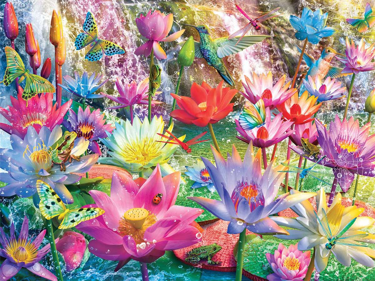 Water Lily Falls - Scratch and Dent Birds Jigsaw Puzzle
