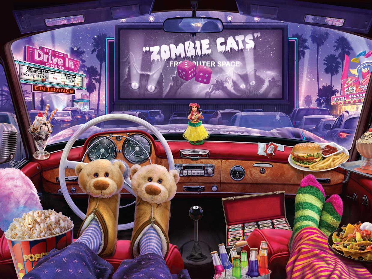 Night at the Drive-in Cars Jigsaw Puzzle