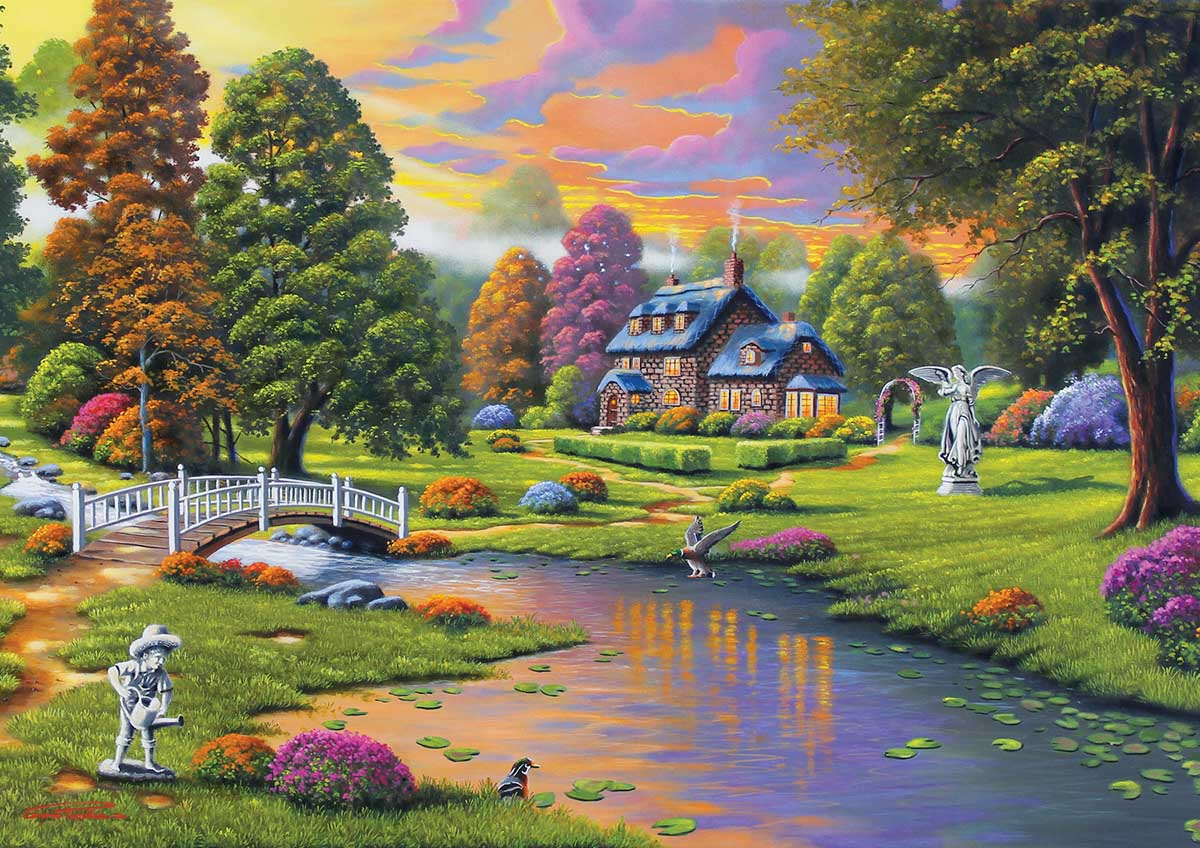 Cottage Creek Landscape Jigsaw Puzzle
