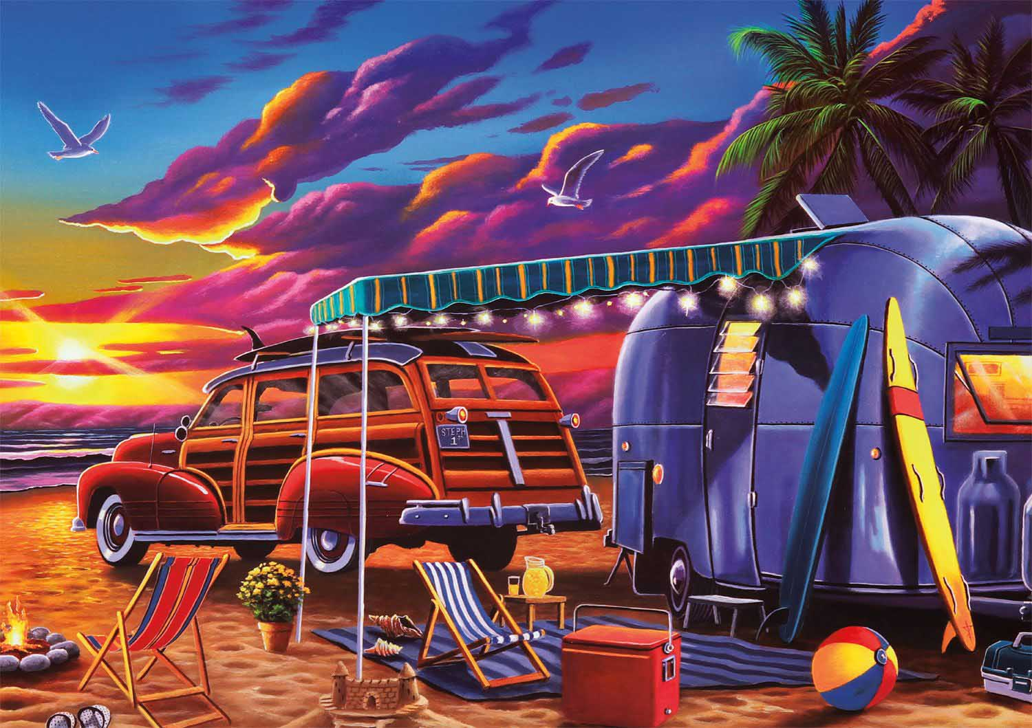 Beach Camp Beach Jigsaw Puzzle