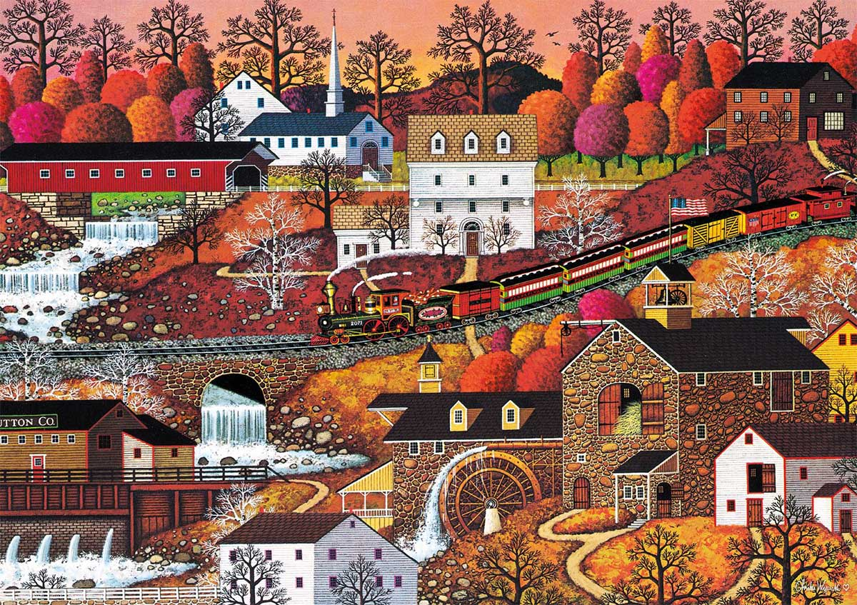 Waterfall Valley Fall Jigsaw Puzzle