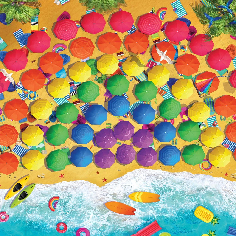 Rainbow Umbrellas Beach Jigsaw Puzzle