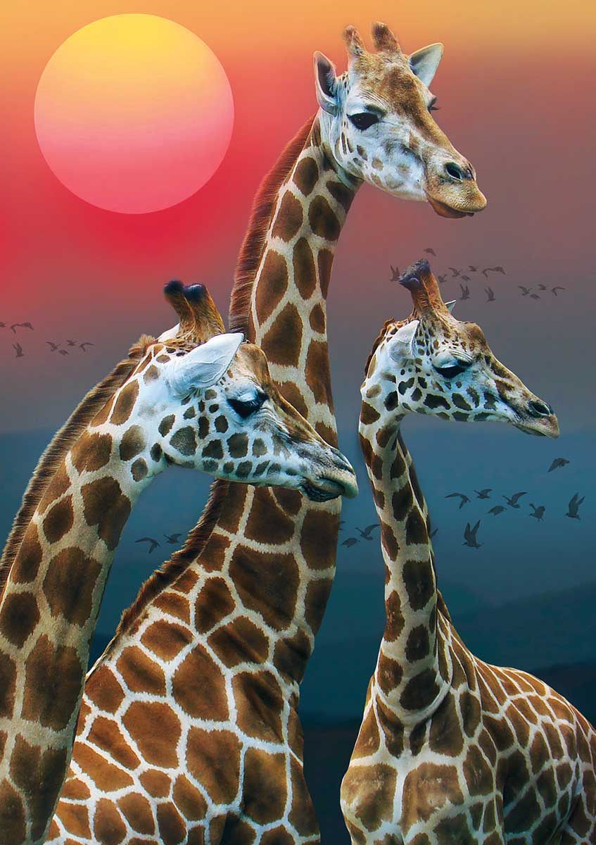 Savannah Sunset Animals Jigsaw Puzzle