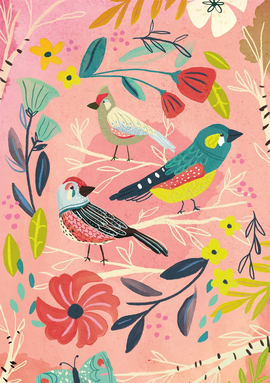 Birch Birds Birds Jigsaw Puzzle