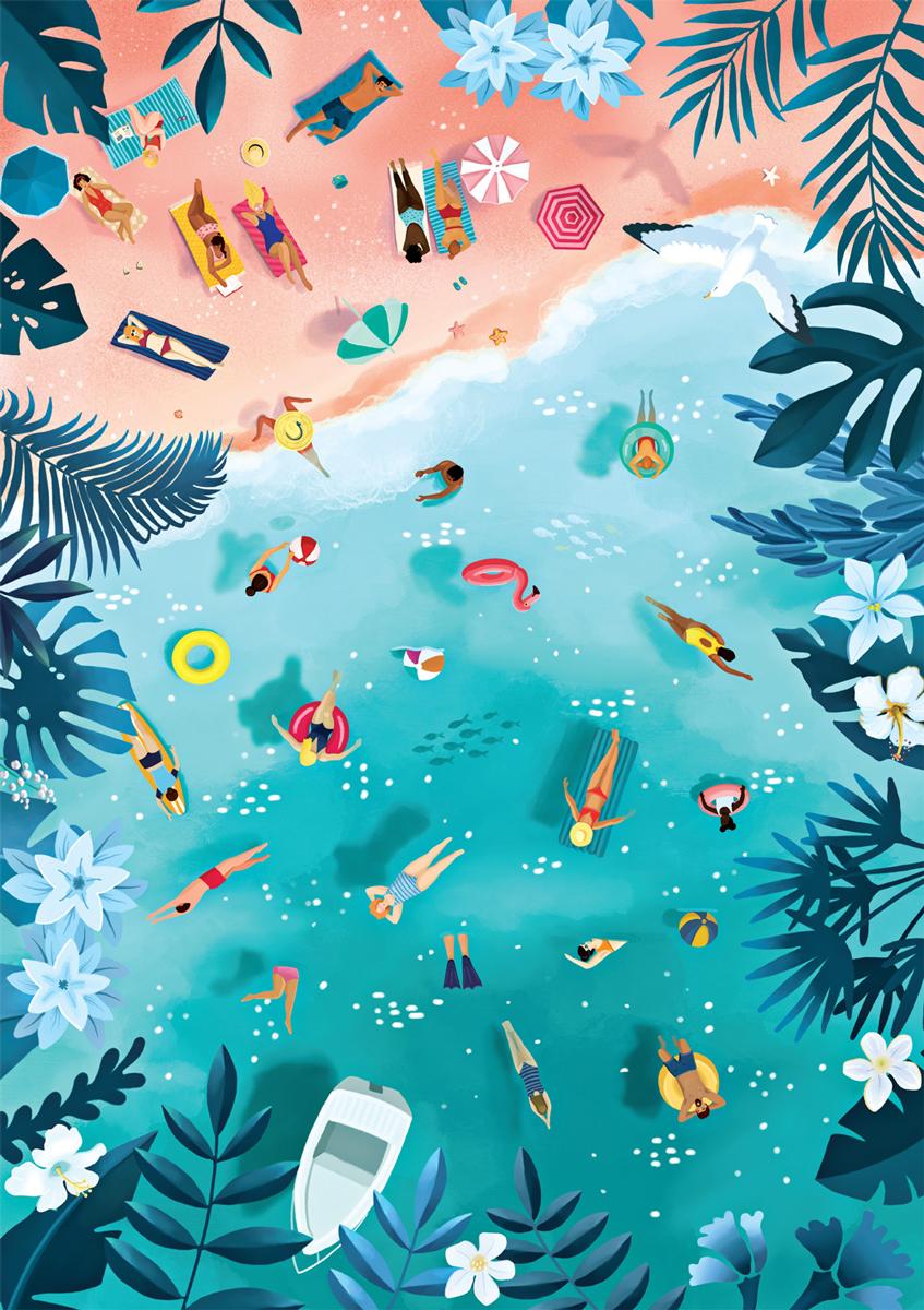 Tropical Umbrellas Beach Jigsaw Puzzle