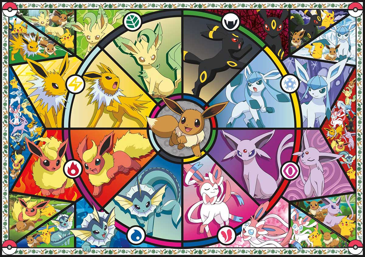 Pokemon - Eevee's Stained Glass Cartoons Jigsaw Puzzle
