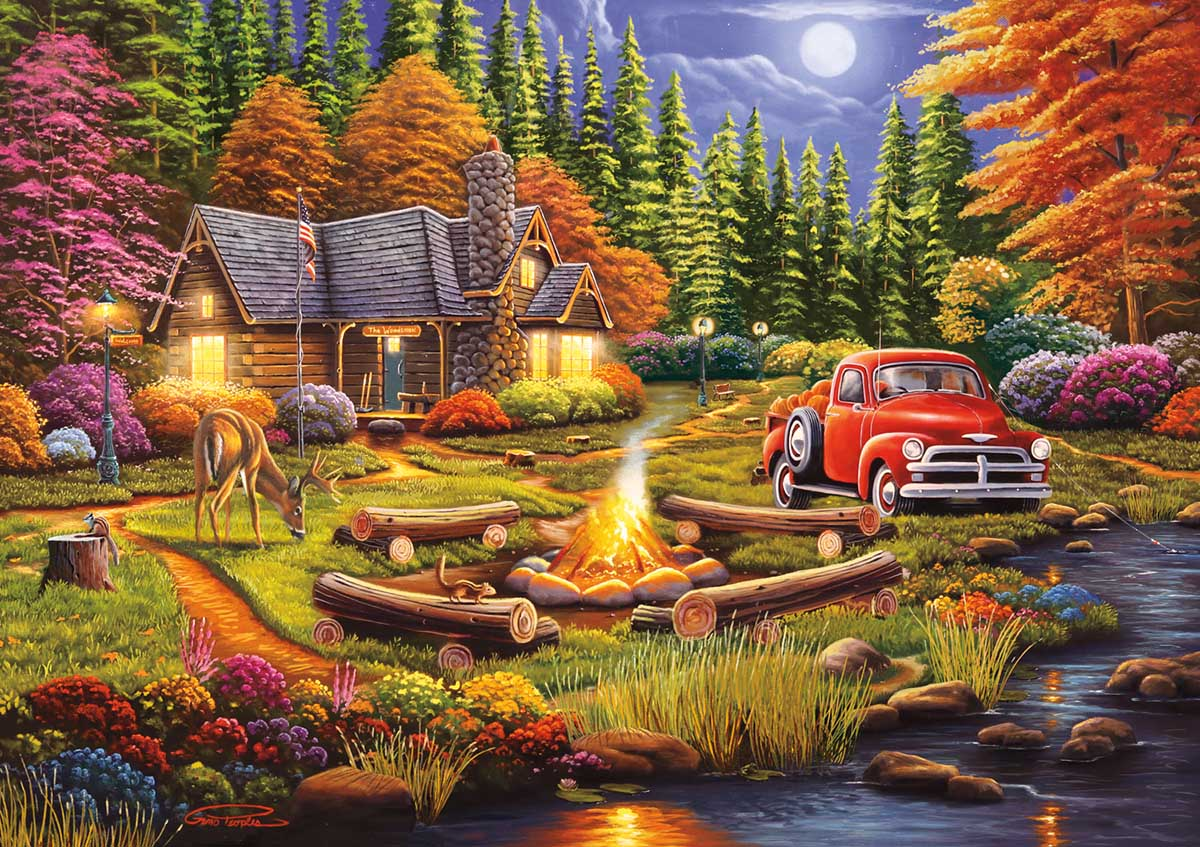 Evening at Camp Cars Jigsaw Puzzle