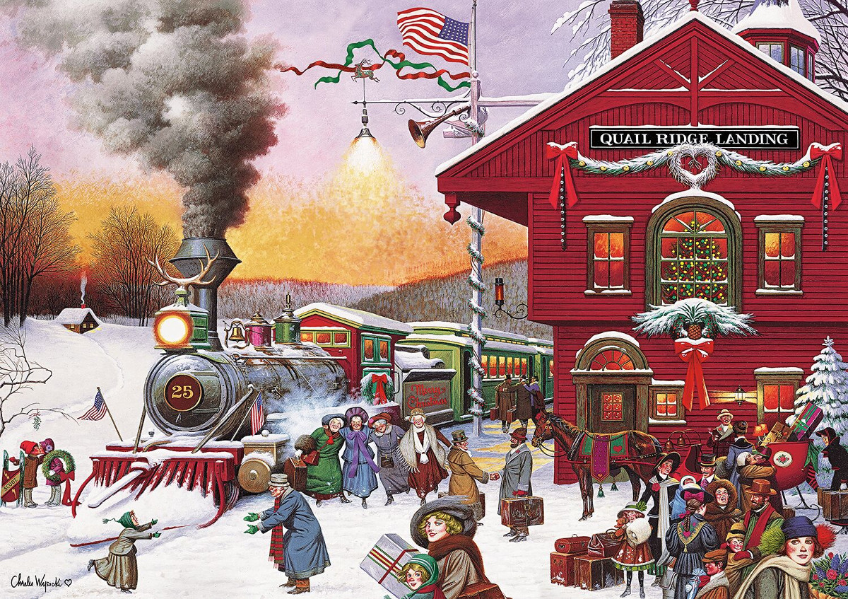 Whistle Stop Christmas (Americana) Christmas Jigsaw Puzzle