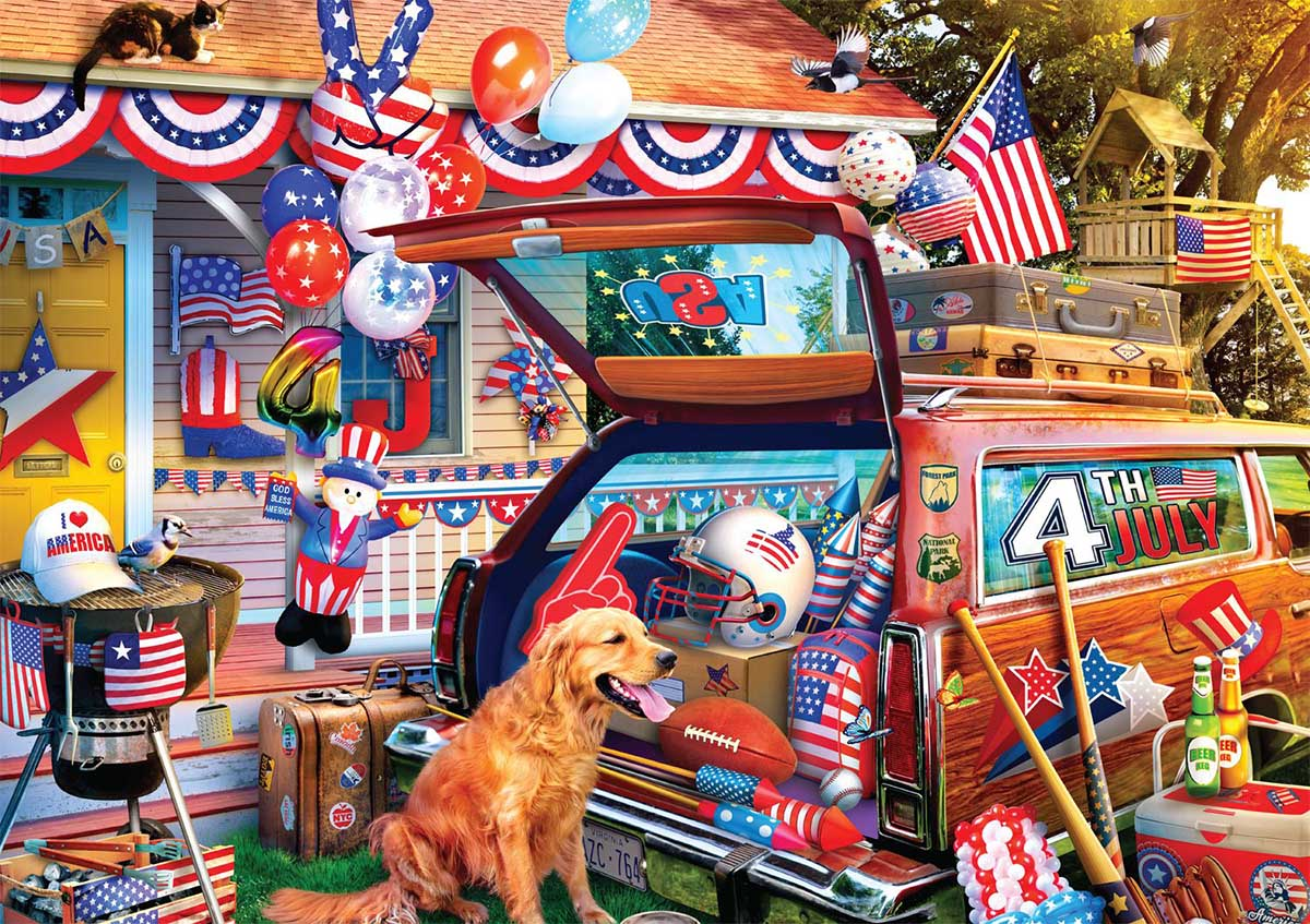 Patriotic Road Trip Dogs Jigsaw Puzzle
