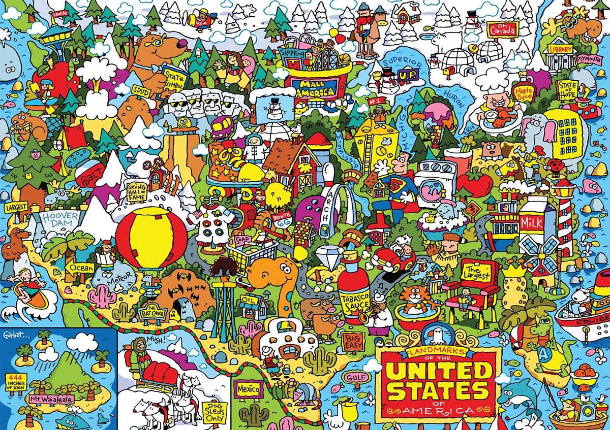 US Landmarks Cartoons Jigsaw Puzzle