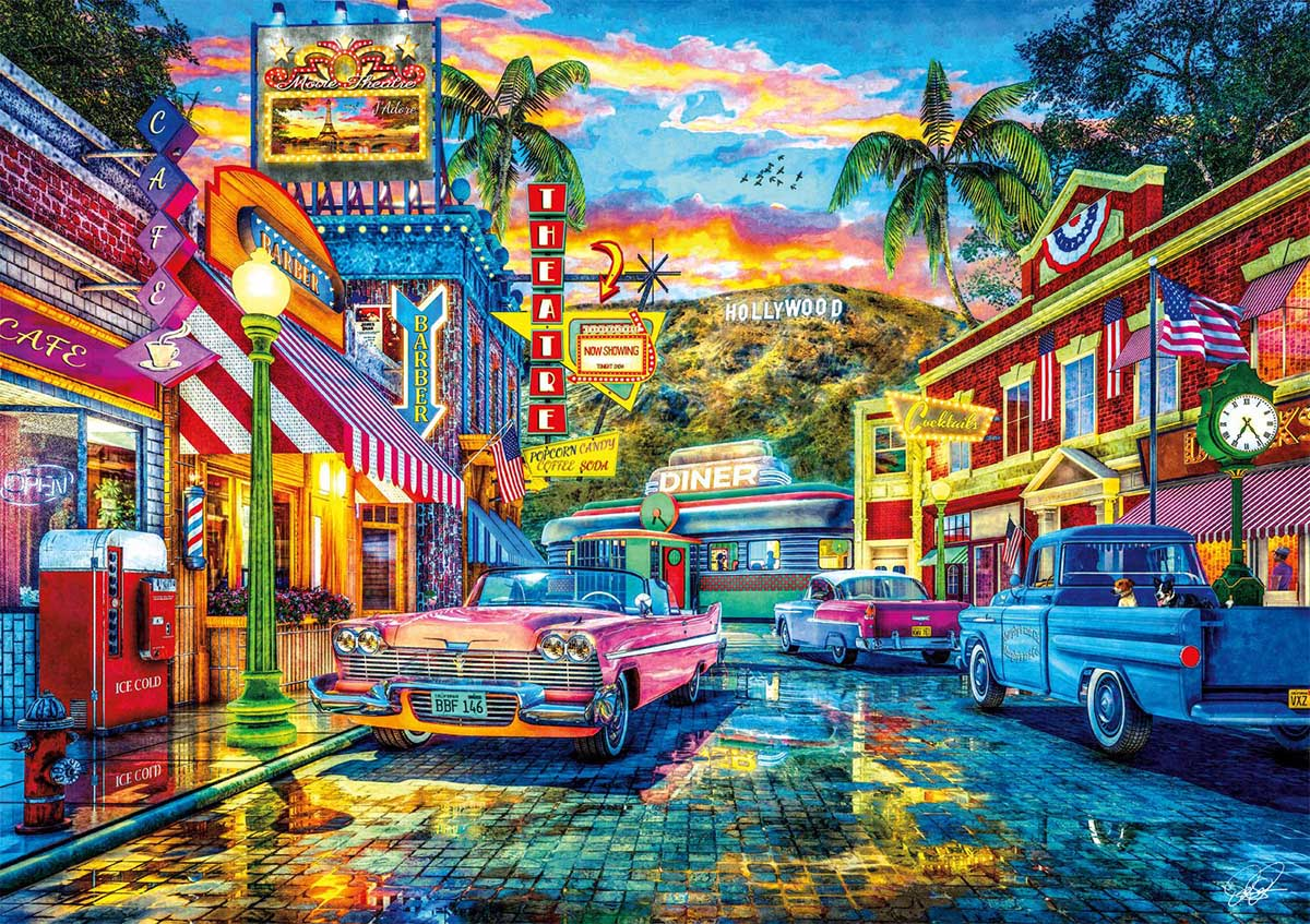 Old Hollywood Cars Jigsaw Puzzle