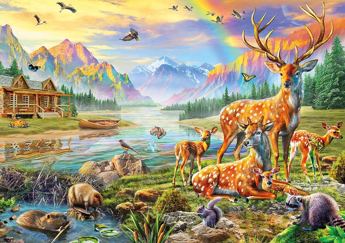 Deer Lake Animals Jigsaw Puzzle