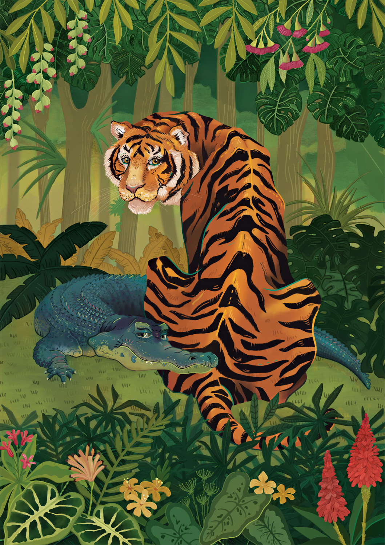 Tiger and Crocodile Jungle Animals Jigsaw Puzzle