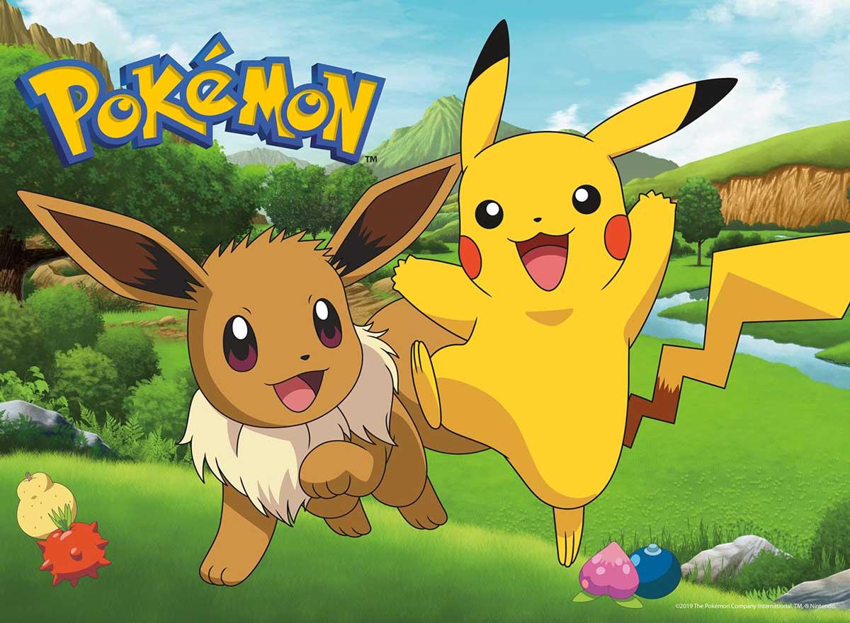 Pokemon - Eevee and Pikachu Cartoons Jigsaw Puzzle