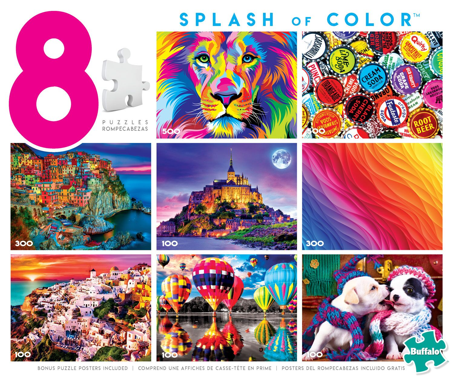 8-in-1 Splash of Color Puzzle Collage Jigsaw Puzzle