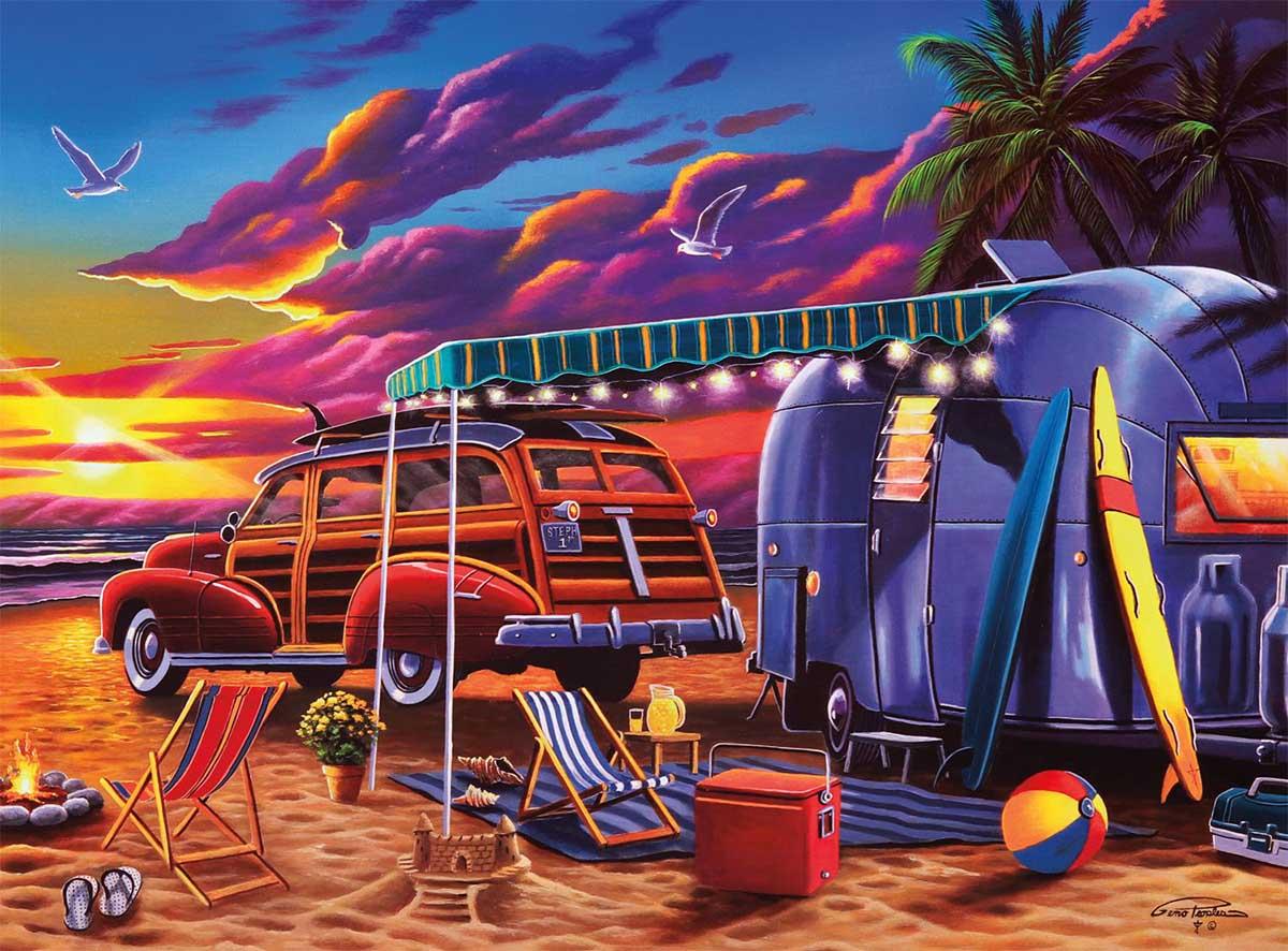 Beach Camp Beach Jigsaw Puzzle