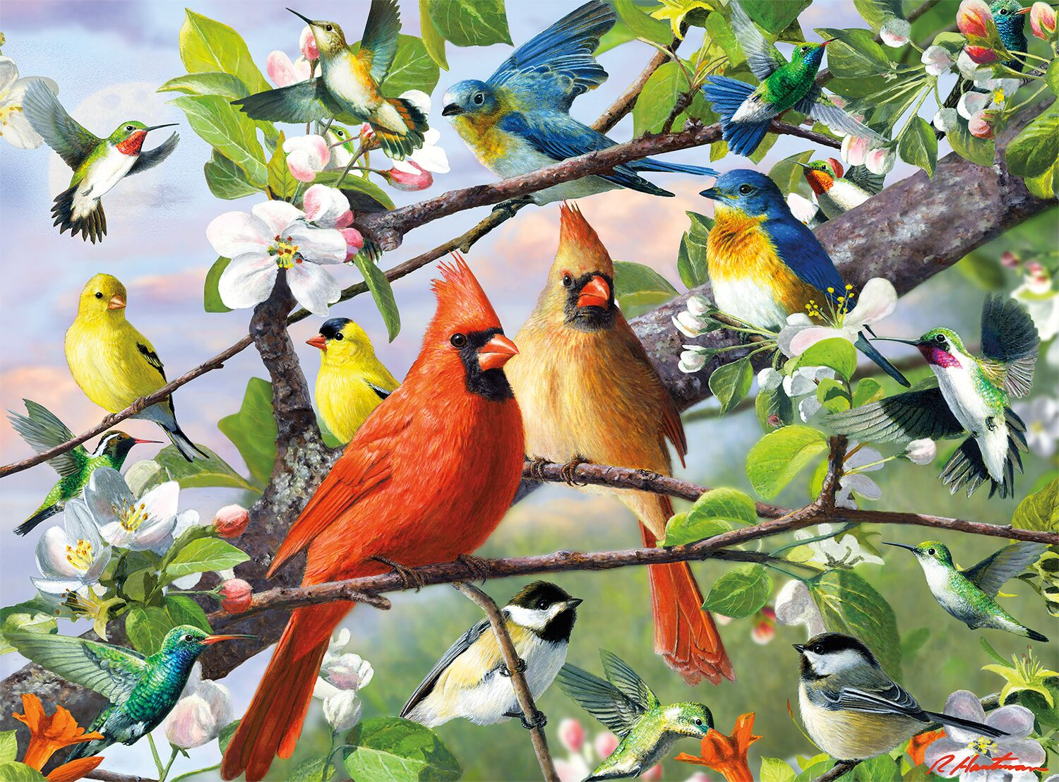 Sitting Pretty Birds Jigsaw Puzzle