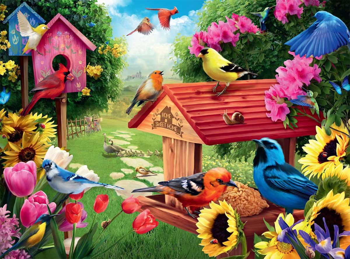 Garden Birdhouse Birds Jigsaw Puzzle