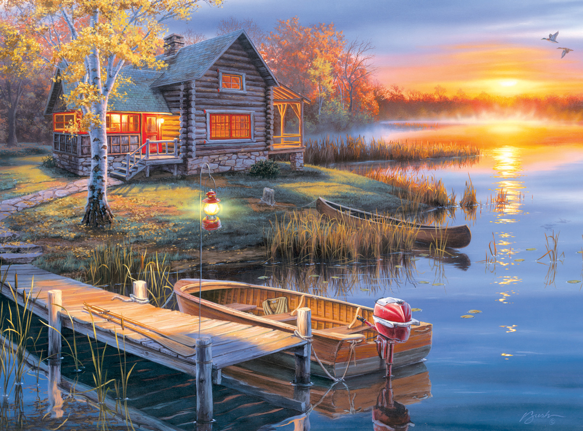 Autumn at the Lake Countryside Jigsaw Puzzle
