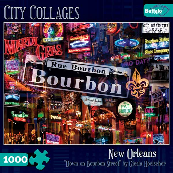Down On Bourbon Street Collage Jigsaw Puzzle