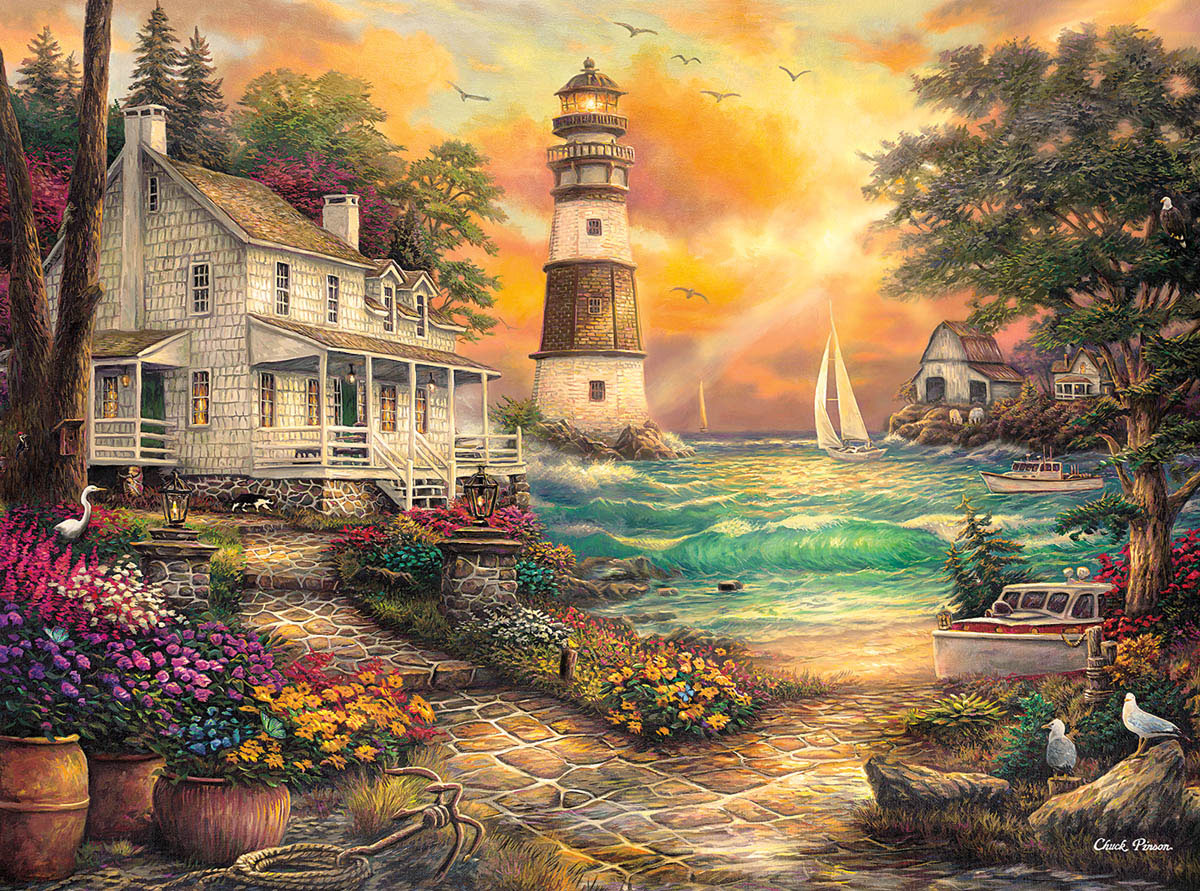 Cottage By The Sea Lighthouses Jigsaw Puzzle