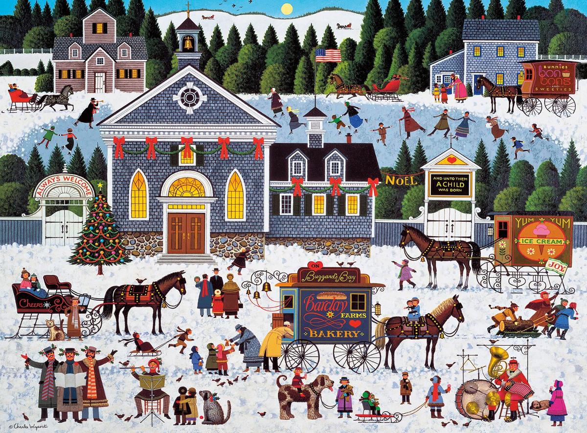 Churchyard Christmas Christmas Jigsaw Puzzle