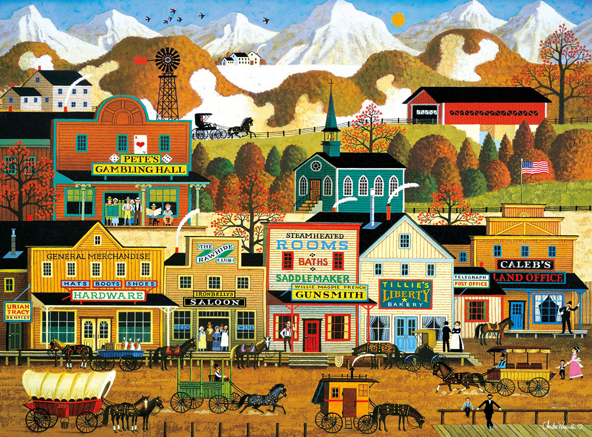 Pete's Gambling Hall Folk Art Jigsaw Puzzle