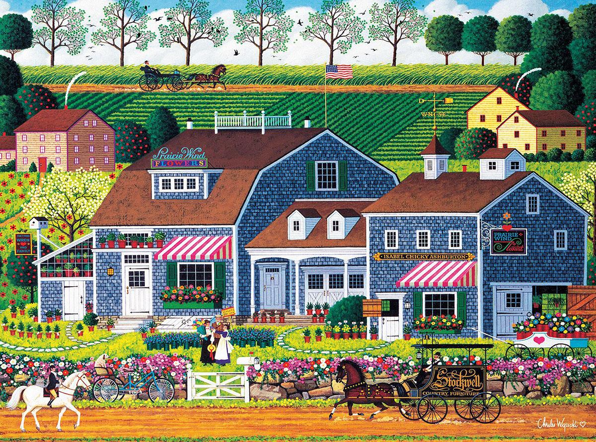 Praire Wind Flowers Americana & Folk Art Jigsaw Puzzle